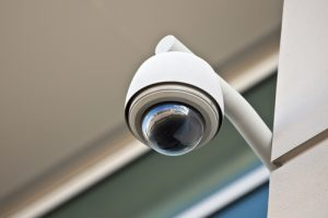 High tech overhead security camera at a government owned building.